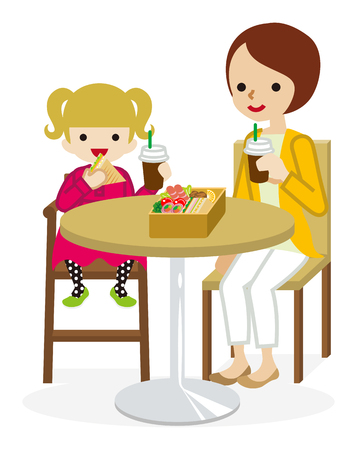 Cartoon Mother and Daughter have a lunch with a cafe table