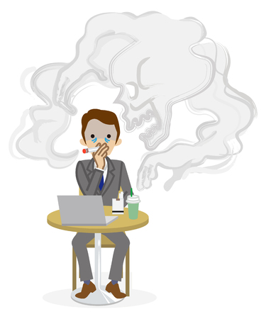 Smoking risk -Cartoon Businessman Illustration