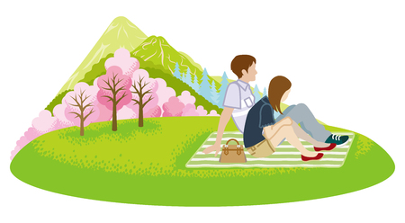 Couple picnic in spring nature -Clip art