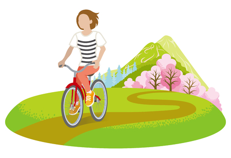 Woman Cycling in Springtime -Clip art