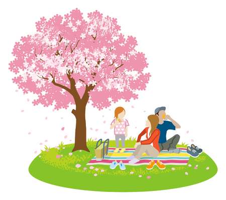 Family picnic in spring nature -Clip art Illustration