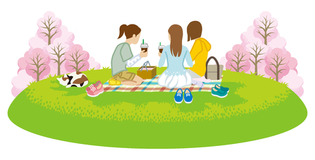 Three girls picnic in spring nature -Clip art