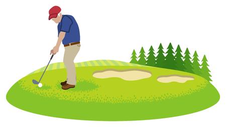 Male senior golfer in course - Clip art