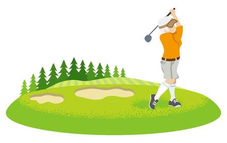 Female senior golfer in course - Clip art Illustration
