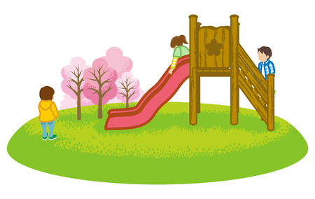 Children playing on a slide in spring nature -Clip art Illustration