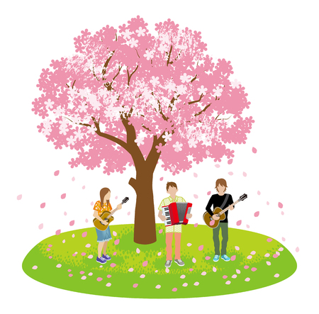 Performing Three musicians under the Big cherry tree -Clip art