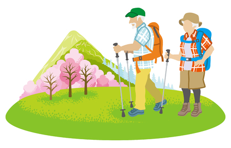 Climbing Senior couple Clip art Illustration