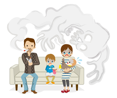 Secondhand smoke issue - Cartoon Family
