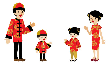 Chinese new year family clip art -Two Generation, Palms up
