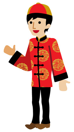 Young Man Wearing Chinese National costume - Palms up