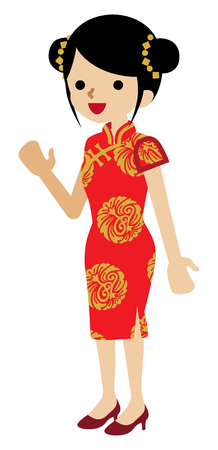 Young Woman Wearing Chinese National costume - Palms up