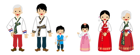 Korean Multi-Generation Family Wearing Traditional costume -Front view