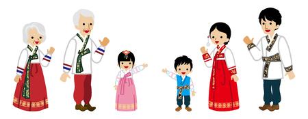 Korean Multi-Generation Family Wearing Traditional costume Illustration