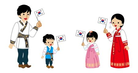 Korean Family holding a National flag -Wearing Traditional clothing
