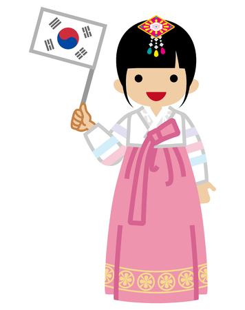 Niña pequeña coreana sosteniendo una bandera nacional, vistiendo ropa tradicional, vista frontal