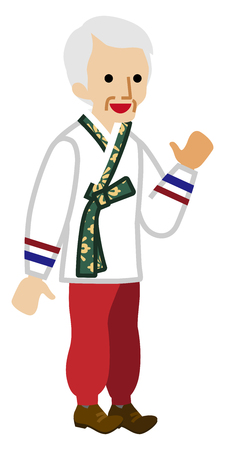 Korean senior man wearing traditional clothing illustration. Illustration