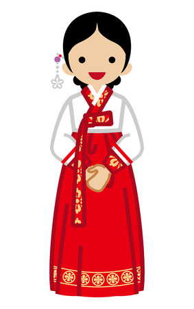 Korean woman wearing traditional clothing, Front view illustration.