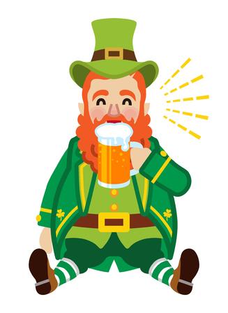 Sitting leprechaun drinking a beer. Illustration