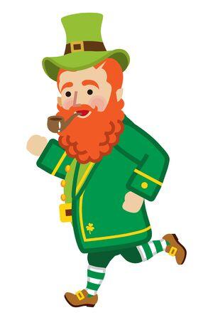 Running leprechaun illustration. Illustration