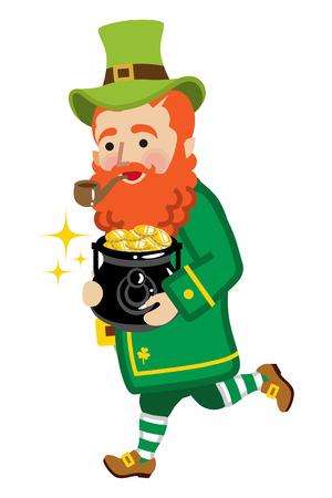 Leprechaun running holding a pot of gold illustration.