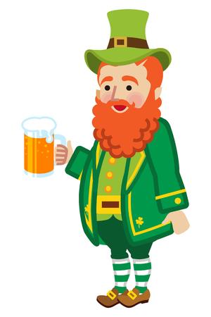 Leprechaun holding a beer mug illustration.