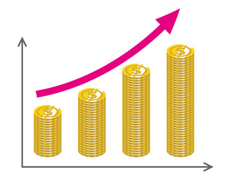 Growing Graph with piled Coins -Dollar