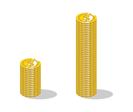 Compared Two bundle piled up coins -Dollar Illusztráció