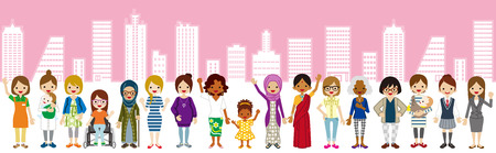 Standing Various women,City-scape background for Women's Rights concept