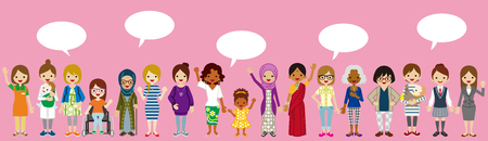 Standing Various women with Speech bubbles for Women's Rights concept