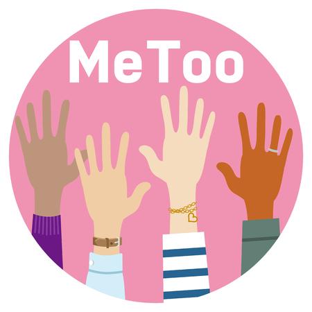 Raised various women's hands - Women's Rights concept Stock Illustratie