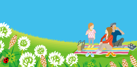 Young family picnic in spring nature Vector illustration. Illustration