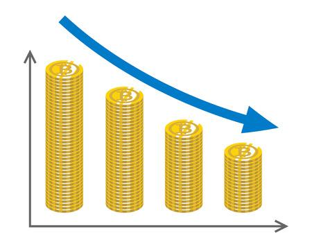 Decrease Graph with piled Coins - Bitcoin