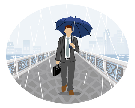Rainy scene clip art - Businessman with umbrella Vector illustration. Illustration