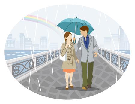 Rainy scene clip art - couple in umbrella Vector illustration.