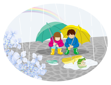Rainy scene clip art - playful two children with umbrella Vector illustration.