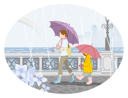 Rainy scene clip art - mother and child with umbrellas Vector illustration. Illustration