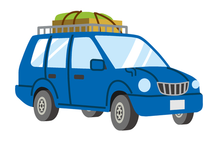 Blue car loaded Luggage