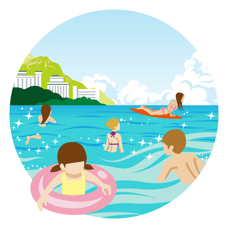 Sea bathing Poeple - circular clip art