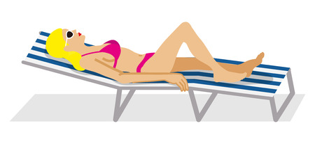 Woman lying down on the Deck Chair - side view Illustration