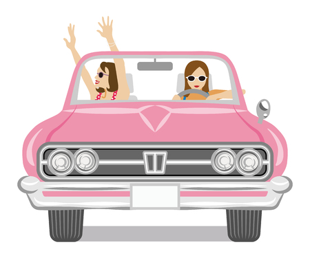 Two women enjoying to drive the convertible Banque d'images - 117371294