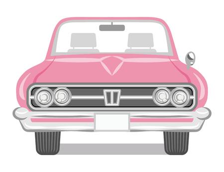 Cabriolet de couleur rose - Vue de face Vecteurs