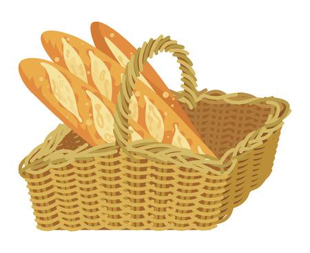 Bunch of baguette in the wicker basket
