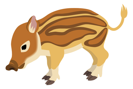 Baby Wild Boar, 2019 Japanese Zodiac Sign -faces the lower left Stock Illustratie