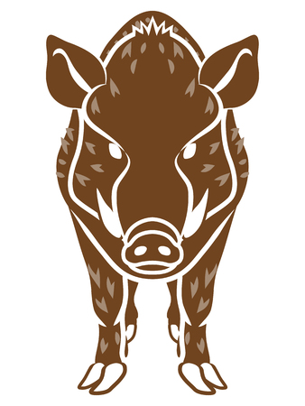 Wild Boar -Front view, Flat style