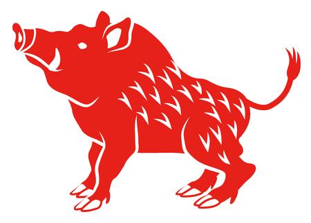 Wild zwijn-zijaanzicht, vlakke stijl Vector Illustratie