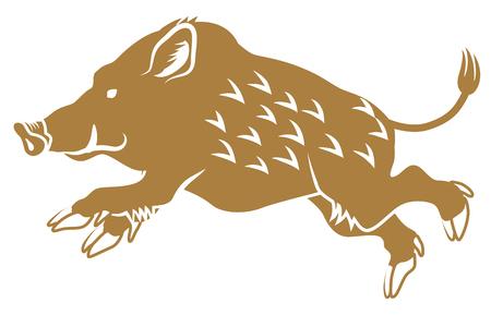 Running Wild Boar - Zijaanzicht, vlakke stijl