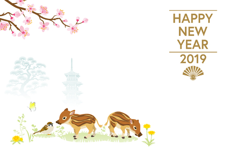 2019 New Year card Design, Baby Boars and Sparrow in Spring nature