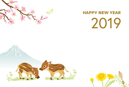 2019 New Year card Design, Baby Boars and Spring nature