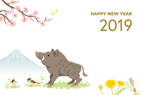 2019 New Year card Design, Boar and Spring nature