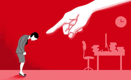 Femme d'affaires qui est pointé par la main énorme - art conceptuel de harcèlement de puissance